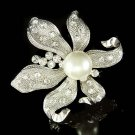 Bridal Swarovski Crystal Pearl Lily Flower Floral Wedding Brooch