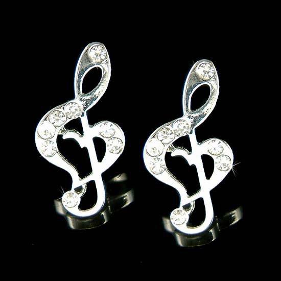 Swarovski Crystal Heart Treble G Clef Music Note Stud Earrings
