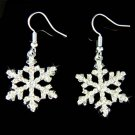 Swarovski Crystal Clear Snowflake Christmas White Snow Earrings