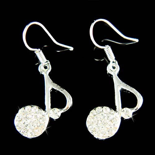 Swarovski Crystal Quaver Eighth Note Music Musical Earrings