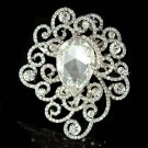 Bridal Cutout Filigree Flower Pave Huge Swarovski Crystal Brooch
