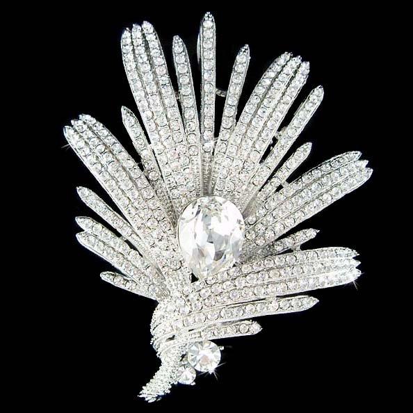 Bridal Swarovski Crystal Lily Flower Floral Wedding Dress Brooch