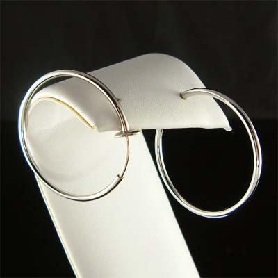 """1 1/4""""(32mm) Simple Rhodium-Plated Circle Hoop Clip On Earrings"""