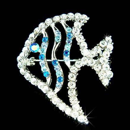 Swarovski Crystal Blue Topical Angelfish Angel Fish Brooch