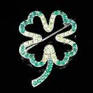 Swarovski Crystal Green Lucky 4 Leaf Clover Shamrock Xmas Brooch