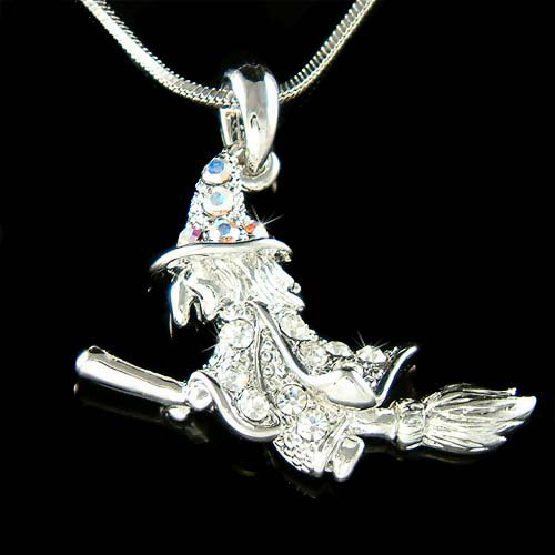 Swarovski Crystal Halloween Wicked Witch Broomstick Necklace