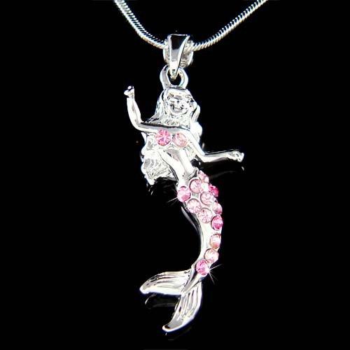 Swarovski Crystal Mermaid Sea Princess Nymph Pendant Necklace
