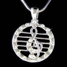 Swarovski Crystal Musical Staff Treble G Clef Pendant Necklace