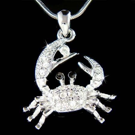 Swarovski Crystal Ocean Sea Beach Wedding Crab Pendant Necklace