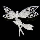 Swarovski Crystal Mother Baby 2 Filigree Dragonfly Pin Brooch
