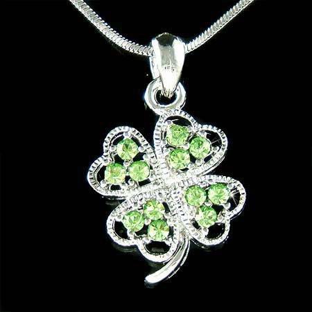 Swarovski Crystal Four Leaf Clover Lucky Shamrock Necklace