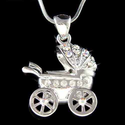 Swarovski Crystal Baby Carriage Stroller Shower Gift Necklace