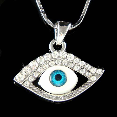 Swarovski Crystal Evil Eye Protection Ward Off Pendant Necklace