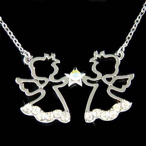 Swarovski Crystal 2 Little Guardian Angel Cherub Star Necklace