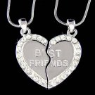 Swarovski Crystal Engraved Best Friend Heart 2 Chains Necklace