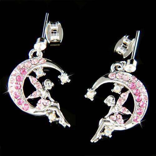 Pink Swarovski Crystal Pixie Faiy Tinkerbell in Moon Earrings
