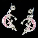 Pink Swarovski Crystal Pixie Faiy Tinkerbell in Moon Earrings
