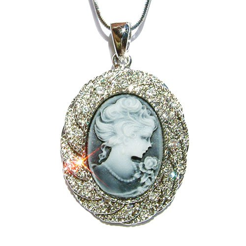 Swarovski Clear Crystal Oval Classy Bridal Black Cameo Necklace