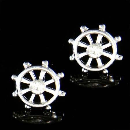 Ship Wheel Celebrity Swarovski Crystal Nautical Stud Earrings