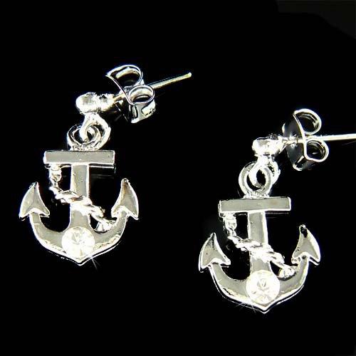 Beach Wedding Yacht Swarovski Crystal Anchor Nautical Earrings