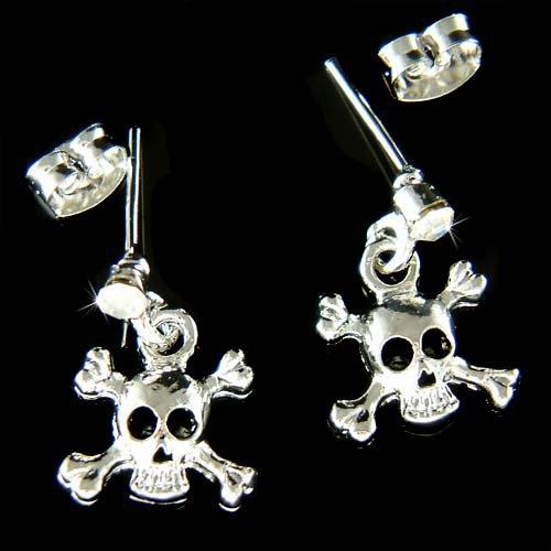 Swarovski Crystal Skull Crossbones Hip Hop Pierced Earrings