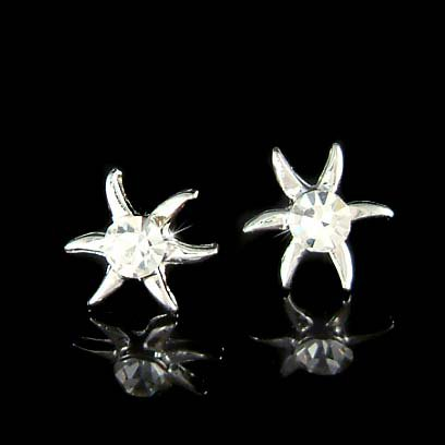 Bridal Swarovski Crystal Starfish Earrings for Beach Wedding