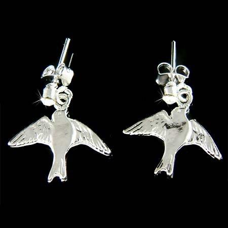Simple Swarovski Crystal Swallow Bird Pierced Earrings