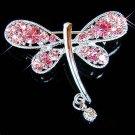 Bridal Wedding Swarovski Crystal Pink Rose Dragonfly Pin Brooch