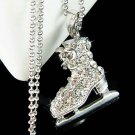 3D Skiing Hockey Swarovski Crystal Ice Skating Skate Necklace