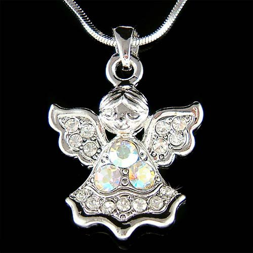 Swarovski Crystal Christian Guardian Angel of God Chain Necklace