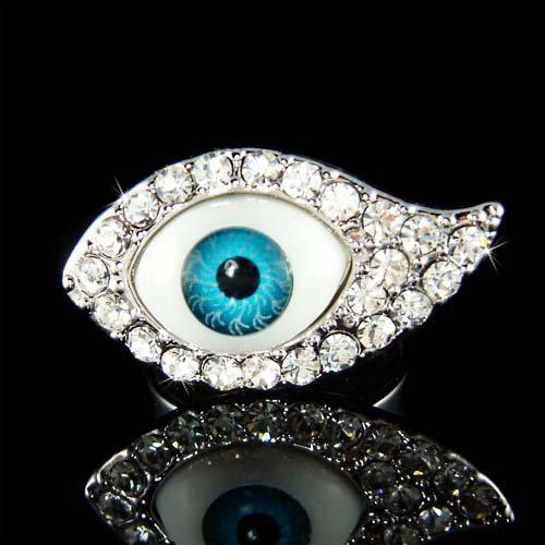 Swarovski Crystal Jewish Ward Off Evil Eye Envy Protection Ring