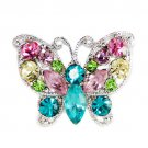 Swarovski Crystal Rainbow Pastel Butterfly Cocktail Party Ring