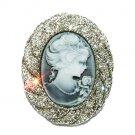 Swarovski Clear Crystal Oval Classy Bridal Black Cameo Brooch