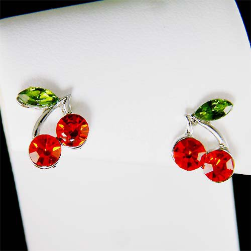 Swarovski Crystal Juicy Sexy Hot Red Cherry Stud Earrings