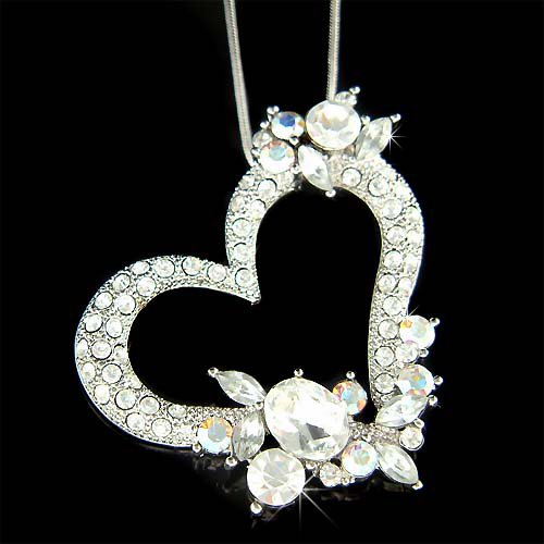 Big Bridal Swarovski Crystal Cut-Out Heart Pendant Necklace