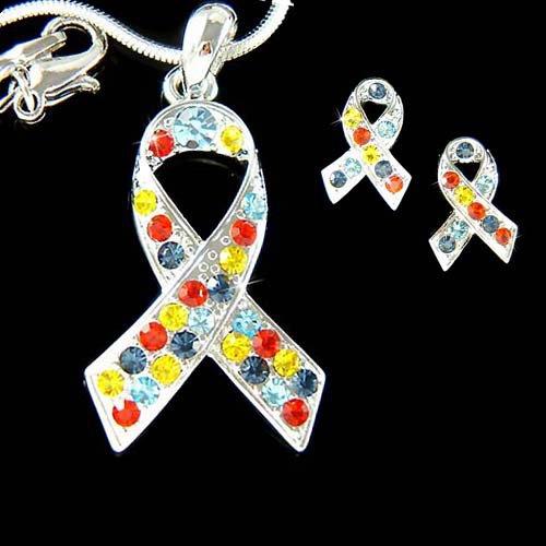 Swarovski Crystal Autism Asperger Ribbon Necklace Earrings Set