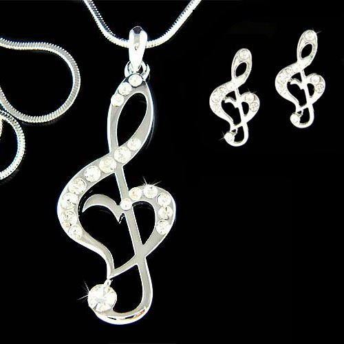 Swarovski Crystal Heart Treble Clef Music Note Necklace Earrings