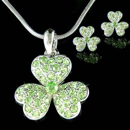 Swarovski Crystal Irish 3 Leaf Clover Shamrock Necklace Earrings