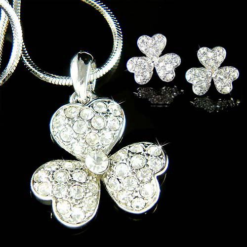 Irish Swarovski Crystal 3 Leaf Clover Shamrock Necklace Earrings