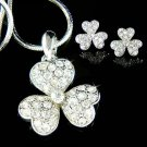 Irish Swarovski Crystal 3 Leaf Clover Shamrock Necklace Earrings