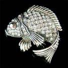 Swarovski Crystal Black Fish Brooch for Fishing Lover