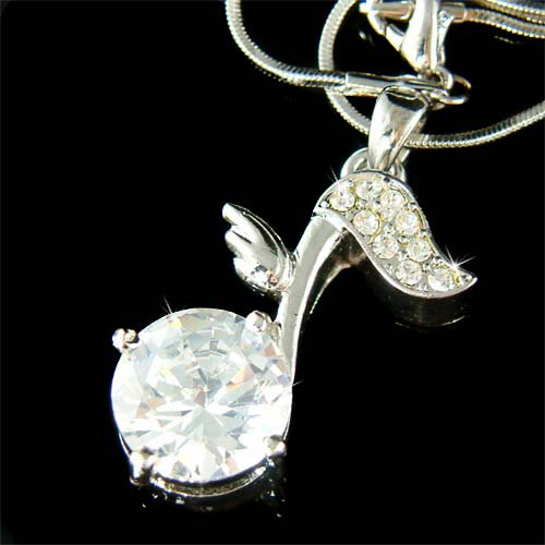 Swarovski Crystal Quaver Eighth Music Note Wing Pendant Necklace