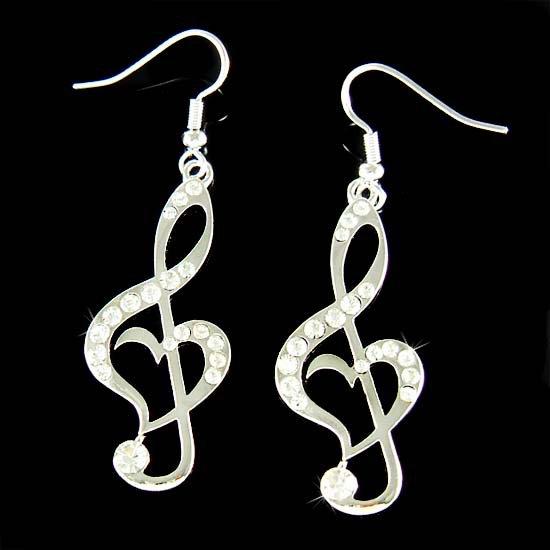 Swarovski Crystal Heart Treble Clef Music Note Pendant Earrings