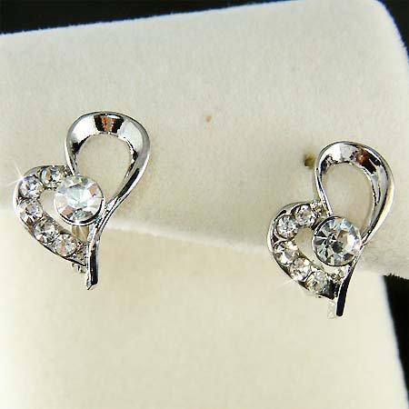 Swarovski Crystal Valentine Love Cute Heart Huggie Hoop Earrings