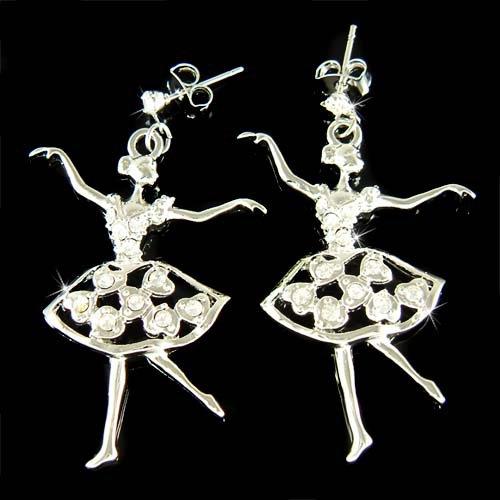 Ballet Dancer Dance Swarovski Crystal Ballerina Stud Earrings