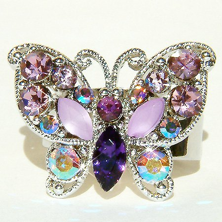 Swarovski Crystal Lilac Purple Butterfly Cocktail Party Ring