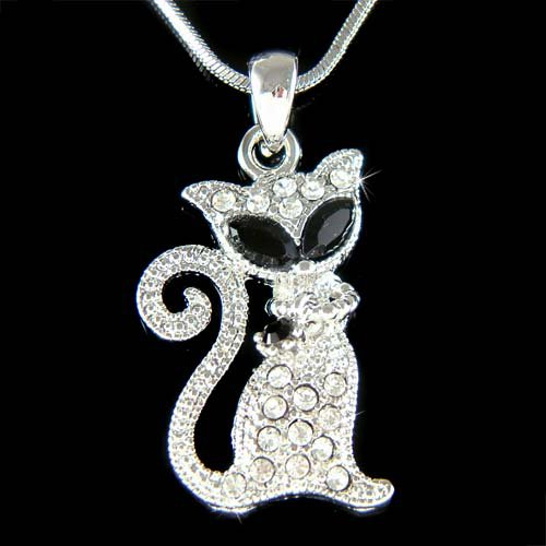 Swarovski Crystal Black Kitty Cat Pendant Animal Charm Necklace