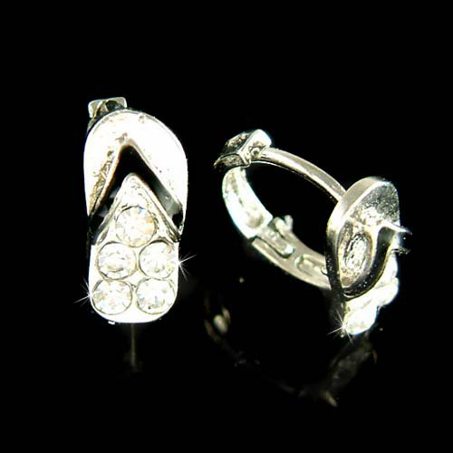 Swarovski Crystal Beach Sandal Flip Flop Huggie Hoop Earrings