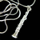 Swarovski Crystal Woodwind Clarinet Musical Instrument Necklace