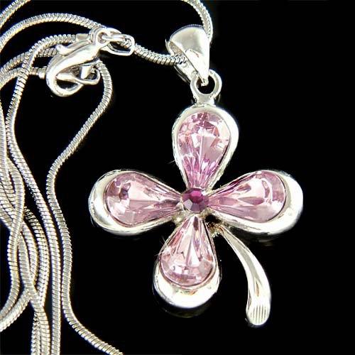 Swarovski Crystal Purple Lucky 4-leaf Clover Shamrock Necklace